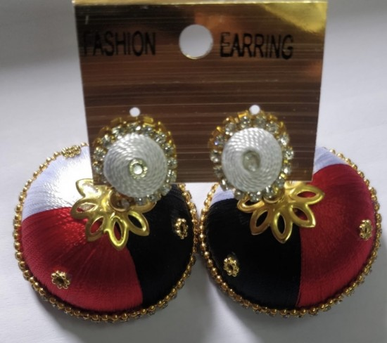 White and red silk earrings gold